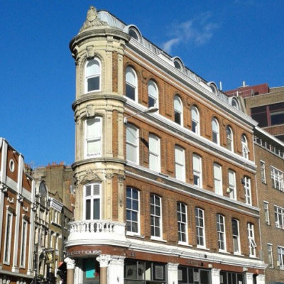 Flat iron office building at 37 Charterhouse street London